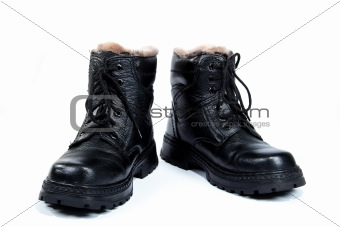 Black man's boots, on the white background, isolated