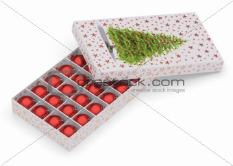 Box with red ornamental  balls