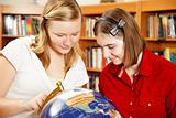 Teenagers Study Globe