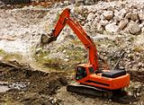 excavator during earthmoving works outdoors at construction site