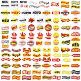 Stickers NEW in 5 language. neu-nouveau-nuoveo-nuevo-novo.