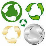 Recycle sign in five variation