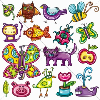 Cartoon flora and fauna set