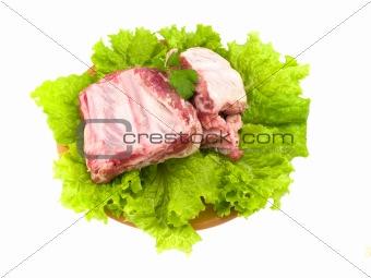 Crude pork edges on a plate