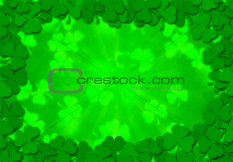 Shamrock Leaves Border Background for St Patricks Day