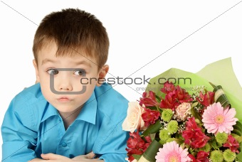 One boy with bouquet of flower