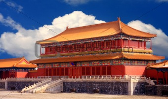 Forbidden City with white cloud
