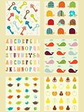 collection of cute retro style  patterns