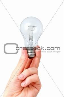 Arm holding light bulb. Isolated on white background