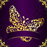 Elegant square easter frame in purple and gold