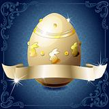 Elegant banner with chocolate egg in blue and white