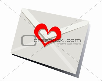 Post envelope sealed by a heart