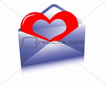 Post envelope with a heart