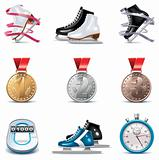 Vector ice skating icon set