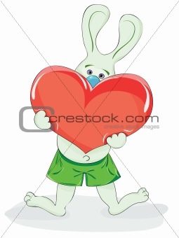 cartoon rabbit with a heart in his paws