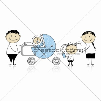 Parents walking with children, baby in buggy
