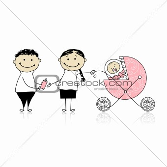 Parents walking with newborn, baby in buggy