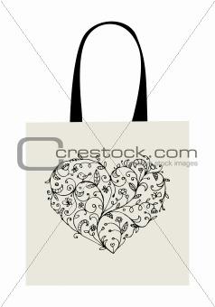 Floral heart shape, design of shopping bag