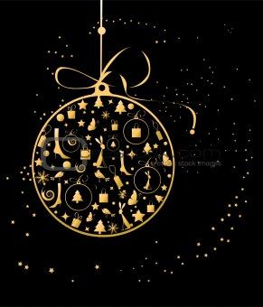 Christmas ball golden for your design