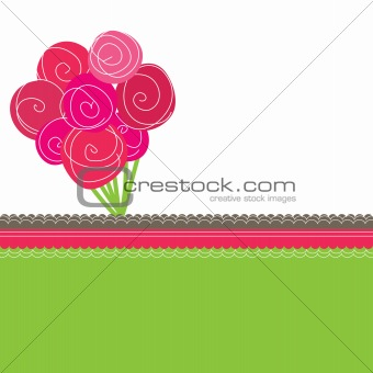 Bouquet of pink roses. Vector illustration
