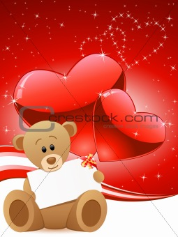 greeting card with teddy bear and hearts