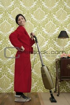 Bathrobe retro housewife woman vacuum cleaner