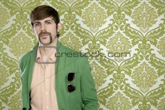 eccentric retro mustache geek man salesperson