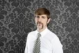 businessman retro mustache over gray wallpaper