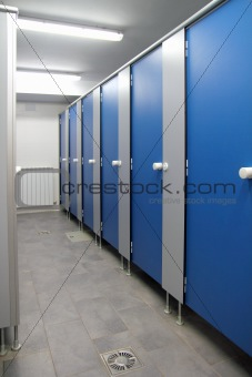 bathroom corridor doors blue pattern indoor