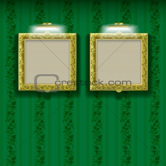 abstract layout with frames and spotlights