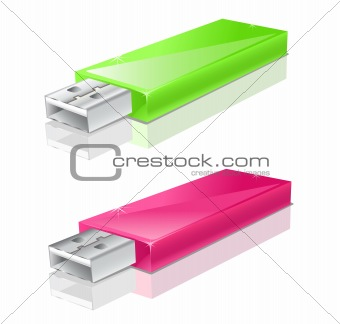 green and pink usb flash drive