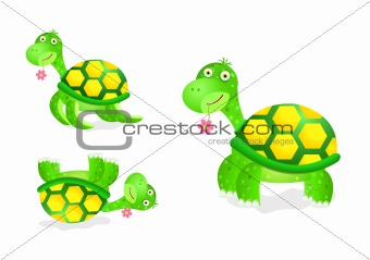 cute turtle toy icon set