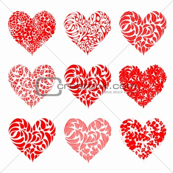 Valentine hearts red for your design