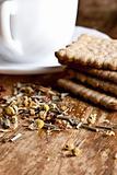 fresh herbal tea and some cookies