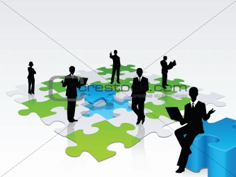 3D business silhouette assembling a puzzle