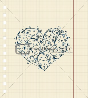 Sketch of floral heart ornament on notebook sheet