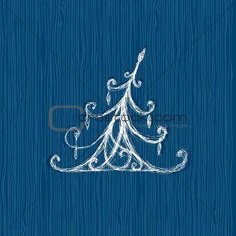Sketch of christmas pine on wooden background