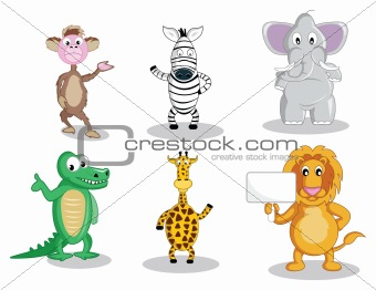 Six cartoon animals isolated on white