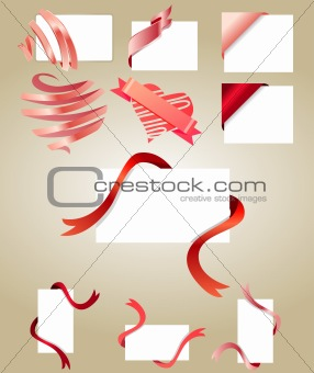 Blank white cards with red ribbons