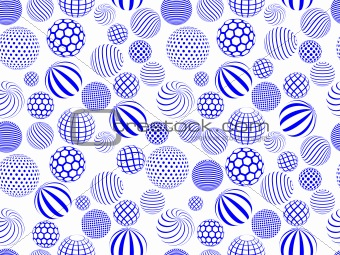 abstract blue white round globe seamless pattern