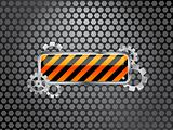 industrial background with barrier sign and gears