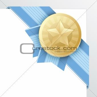 Gold Medal Award or Certificate Emblem, Vector Illustration