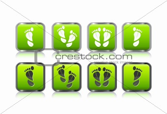 foot print in form of leaf icon set