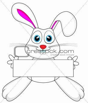 cute white bunny rabbit holding a blank sign