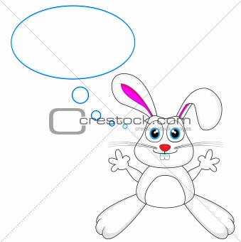 cute white bunny rabbit with thought bubble