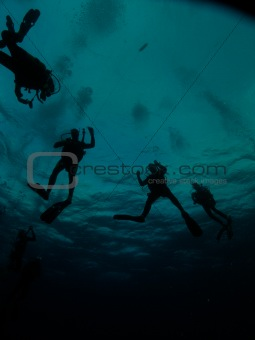 3 metres, 5 minutes, adventure, assist, black, blue, breathe, bubbles, buoy, diver, explore, fin, help, hold hand, level, natural light, ocean, safety, safety stop, scuba, silhouette, time, together, underwater