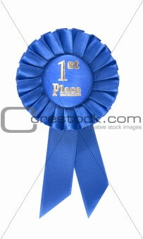 First place rosette isolated on white