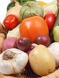Close up of  tomatoes and healthy vegetables
