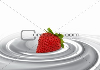 Strawberry in milk