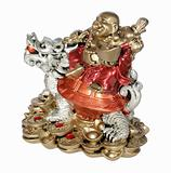 Statuette of Hotei (Buddha) to the dragon